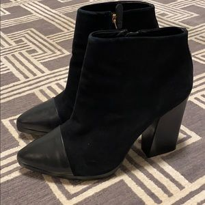Tory Burch Suede and Leather Chunky Heel Boots